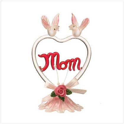 """29219 Color Glass """"Mom"""" With Heart-Shaped"""