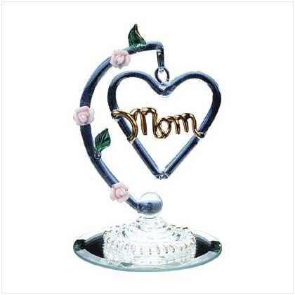 30017 Spun Glass Heart-Shaped Mom