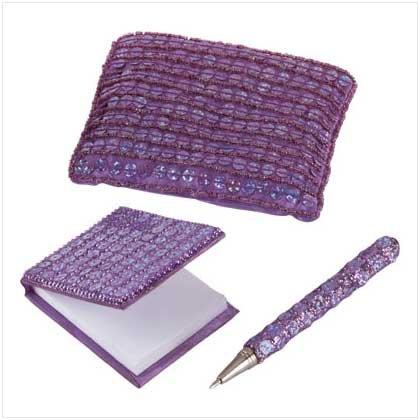35218 Purple Sequin Purse With Mini-Notebook & Pen