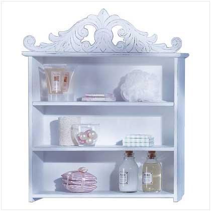 33663 Distressed White Wood Shelf