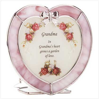 """33743 Heart-Shaped """"Grandma"""" Plaque and Candle Holder"""