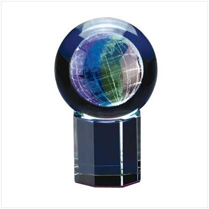 31122 Etched Glass Block Paperweight - Globe