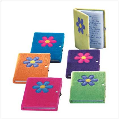 33119 Plush Flower Diary-Lock & Key (6 Pack)