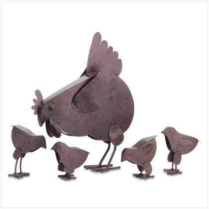 """31170 5-Piece Rusted Metal """"Hen Family"""""""