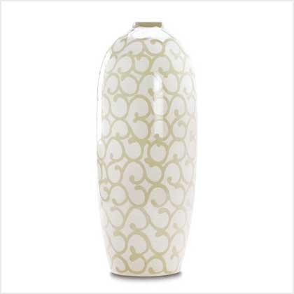 38389 Ivory Scrollwork Vase