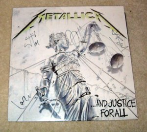 """METALLICA    autographed   SIGNED      """"  Justice """"    RECORD        *proof"""