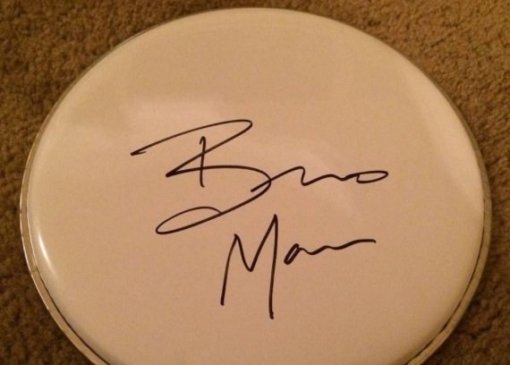 BRUNO MARS signed  AUTOGRAPHED new DRUMHEAD