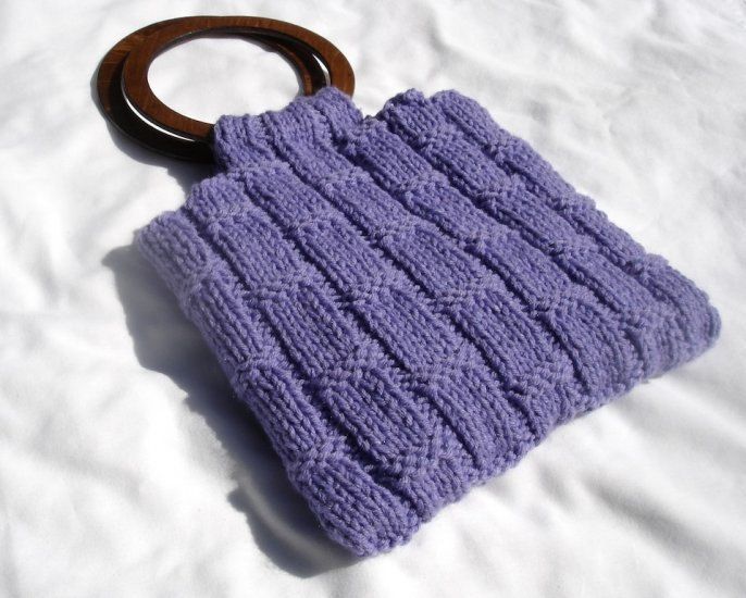 Hand Knit Purple Purse with Matching Wallet