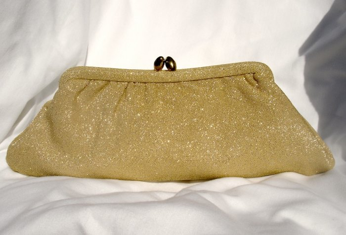 Gold Clutch with Kiss Clasp