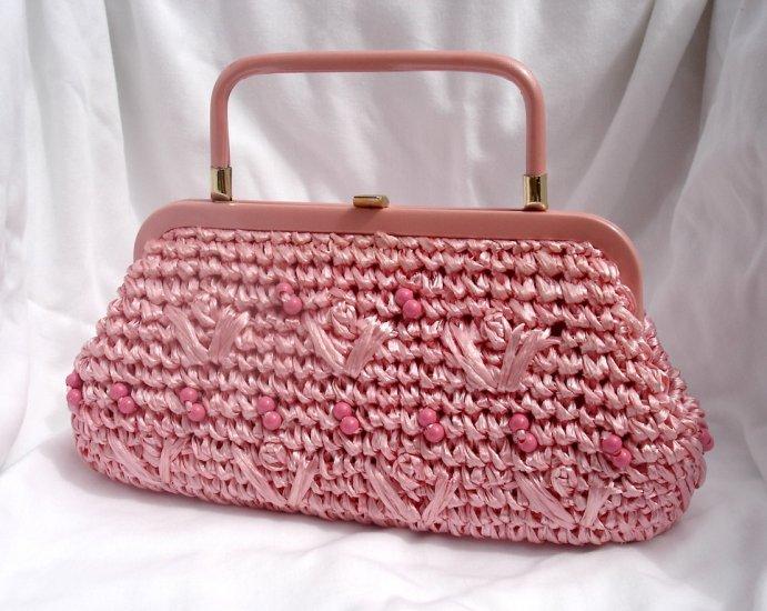 Vintage Pink Straw Handbag by Joseph Magnin