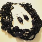 Black Twisted Seed Bead & Chunky Beaded Necklace