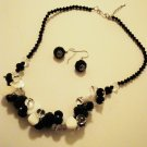 Faux Crystal, Mother of Pearl & Onyx Necklace