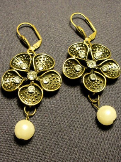 Faux Vintage Bronze Toned Earrings with Faux Pearls and Crystals