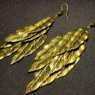 Bronze Toned Leaves Jingle Earrings