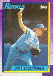 1990 Topps #350 Bret Saberhagen - Kansas City Royals (Baseball Cards)