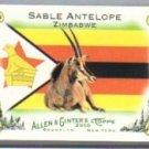 2010 Topps Allen and Ginter Mini National Animals #NA28 Sable Antelope - Zimbabwe (Miniature Card)(B