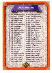 1992 Upper Deck 700 Checklist 601-700