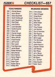 1990 Fleer 657 CL: Rangers/Brewers/Expos/Twins