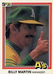 1981 Donruss #479 Billy Martin MG