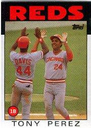 1986 Topps 85 Tony Perez/(Eric Davis also/shown on card)