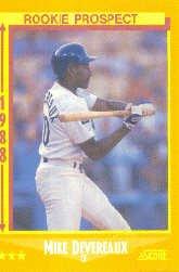 1988 Score 637 Mike Devereaux RC