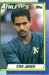 1990 Topps #102 Stan Javier - Oakland Athletics (Baseball Cards)