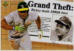 1992 Upper Deck #782 Rickey Henderson 1000