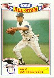 1987 Topps Glossy All-Stars #14 Lou Whitaker
