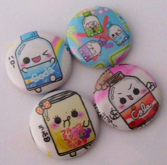 Soda Chan and Friends, japanese kawaii pinback badge set