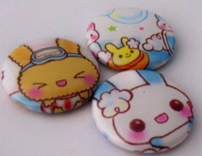 Bunny Bathtime, japanese kawaii pinback badge set