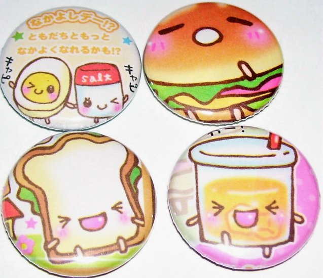 Happy Lunch - Cute Food, japanese pin pinback button badge set