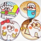 Happy Teeth, japanese kawaii pin pinback button badge set
