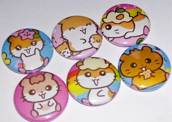 Fun with Hamsters, japanese kawaii pinback buttons badges, Sanrio
