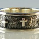 Men's Christian Sterling Silver Cross Band Ring