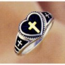Ladies Cross Ring, w/ 14K Gold Inlay