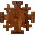 "Olive Wood Jerusalem Cross Size: 5"" x 5"" (12.5x12.5cm)"