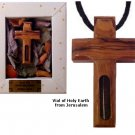 Olive Wood Cross Pendant with Holy Earth with Black Velvet Adjustable Chain