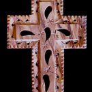 "Large Floral OliveWood Cross Necklace  Size: 2"" x 3.5""  (5cm x 8.5cm)"