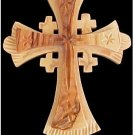 "Large Olive Wood Jerusalem Cross Size: 4"" x 3.5"" - Hangs on black lace cord"