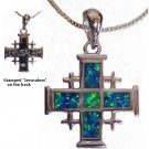 "Jerusalem Cross with Opal Stones Size including the Bail: 1.25"" x 7/8"" x 1/8"" Thick (3cm x 2cm)"