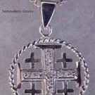 "Jerusalem Cross Encircled with 18"" Sterling Silver matching chain"