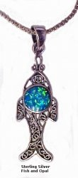 Sterling Silver Ichthus with Opals Necklace Chain