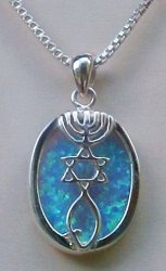 """Messianic Seal with Large Opal Stone with  18"""" Sterling Silver chain is included"""