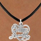 I Love Cheerleading Heart Charm Necklace  -  4 Styles to Choose