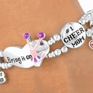 #1 Cheer Mom Silver Finish Stretch Bracelet