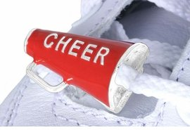 """""""Cheer"""" Cheerleading Megaphone Charms for Shoe Laces - Different Colors Available"""
