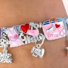 Cheerleading Cheer Power Silver Finish Stretch Bracelet