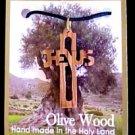 "Jesus Cross Olive Wood Necklace Size: 1.3/4"" x 1"" (5cm x 8.5cm)"