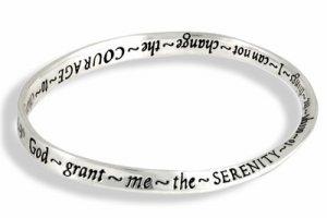 SERENITY COURAGE WISDOM Silver Tone Bangle Bracelet