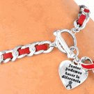 "Red ""Heart Disease"" And/Or ""Aids"" Awareness Charm Bracelet - Spanish Bracelet"